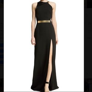 Halston Heritage Sleeveless Side-Slit Gown